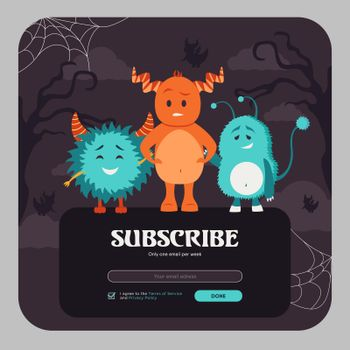Email subscribe design with colorful funny monsters