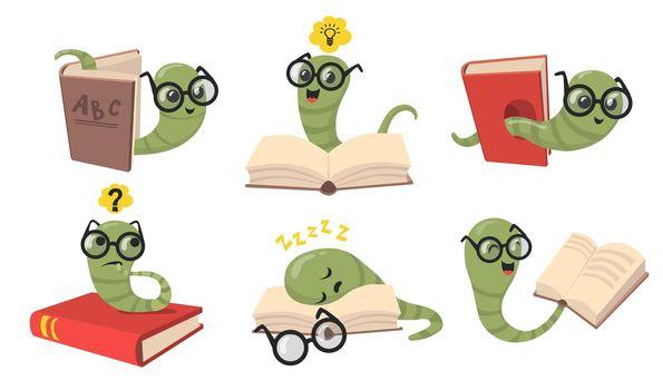 Funny bookworms flat item set