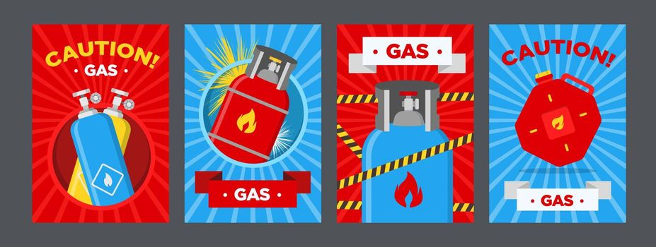 Gas station caution posters set