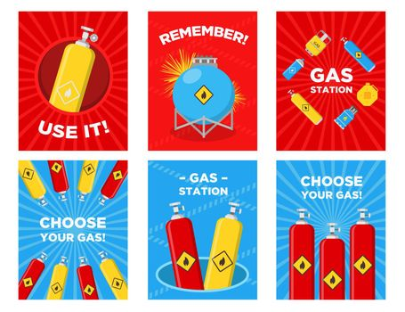 Gas station greeting cards set
