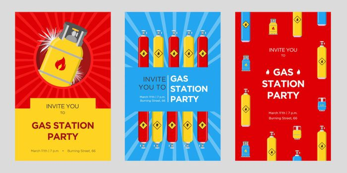 Gas station party invitation cards set