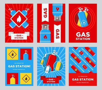 Gas station flyers set
