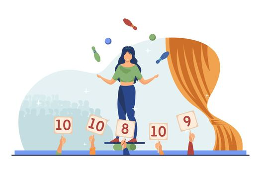 Girl balancing and juggling with balls and skittles