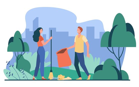 Happy couple picking up litter outdoors