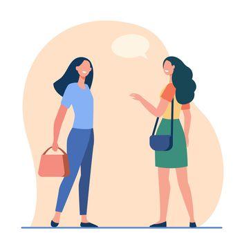 Happy friendly women talking outside