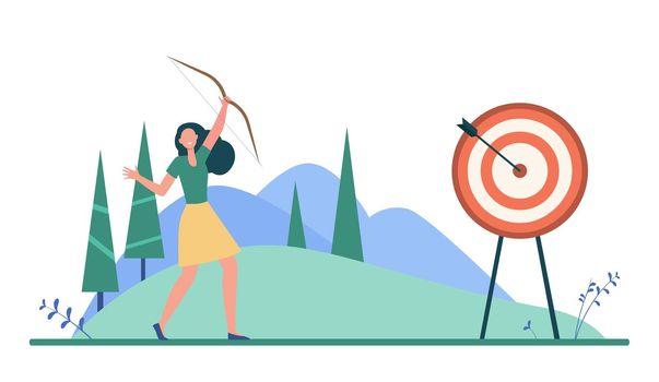 Happy woman reaching target or goal