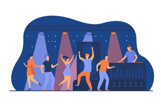 Happy young people dancing in club