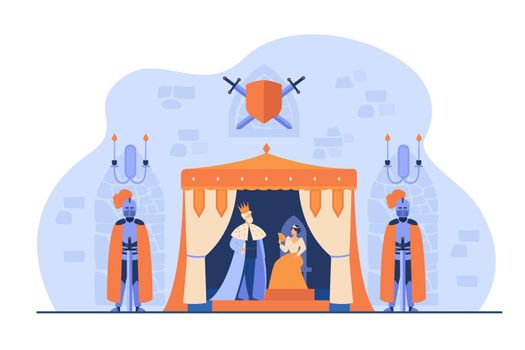 Medieval king and queen on throne under guard of knights