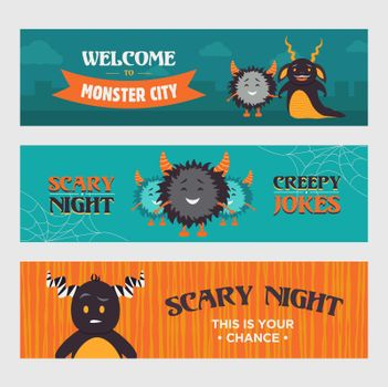 Modern banner designs with furry monsters