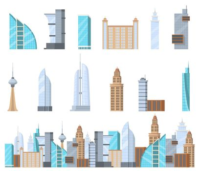 Modern commercial skyscrapers flat set