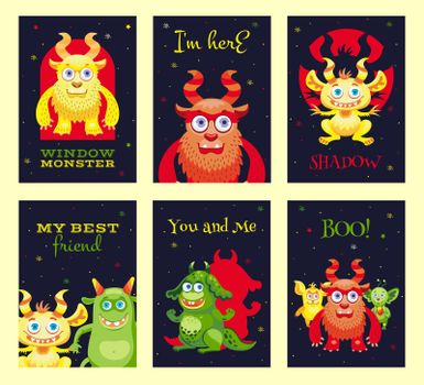 Modern greeting card designs with furry monsters.