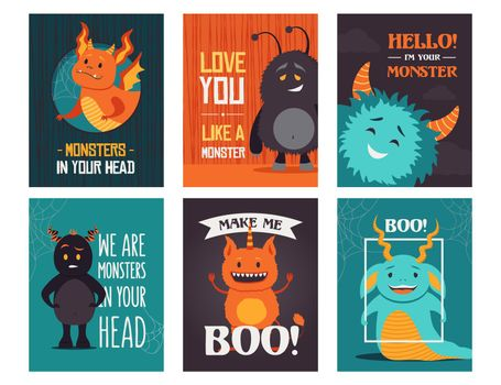Modern greeting card designs with monsters