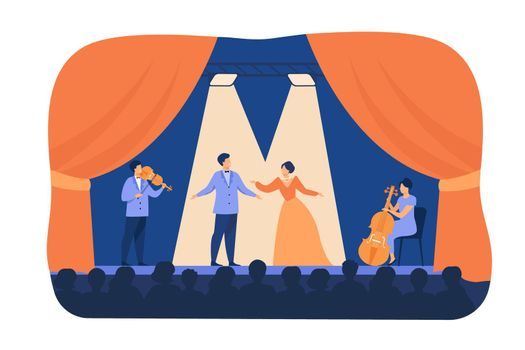 Opera singers playing on stage with musicians