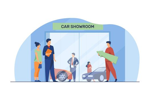People choosing and buying automobile