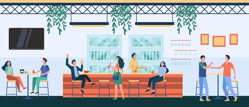 People meeting in cafe, drinking beer in pub