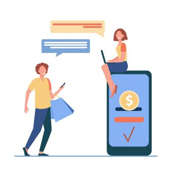 People sending and receiving money online