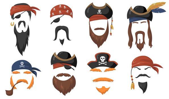 Pirate face masks for carnival flat item set