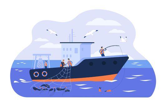 Professional fishermen working in vessel