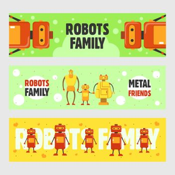 Robots family banners set