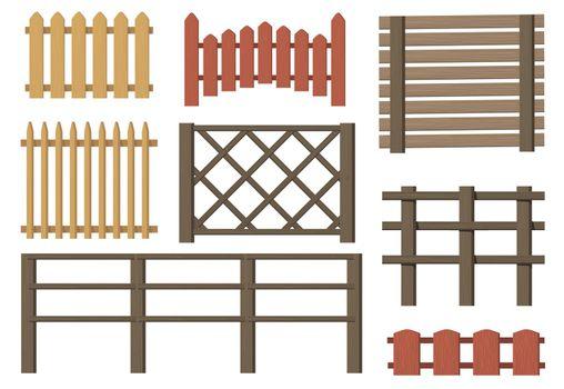 Rural wooden fences flat item set