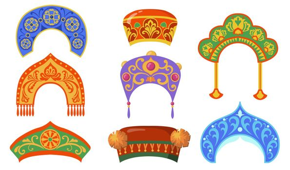 Russian national lady hat flat item set
