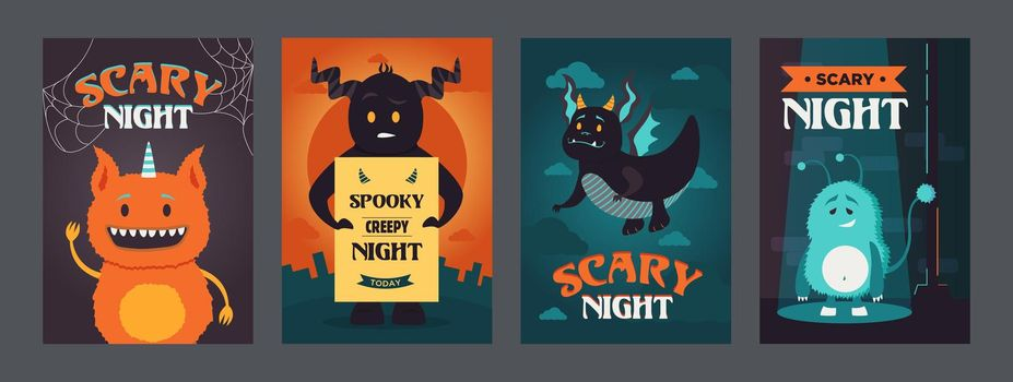 Scary night posters design with funny monsters