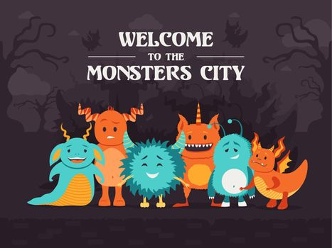 Stylish background design with cute monsters standing