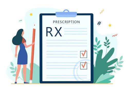 Tiny woman reading doctor prescription