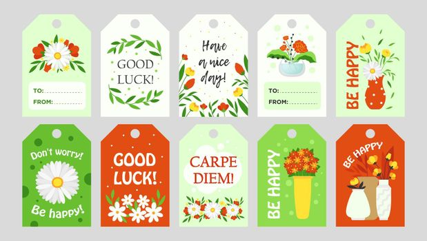 Trendy tags design with flowers