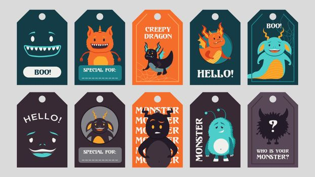 Trendy tags design with funny monsters