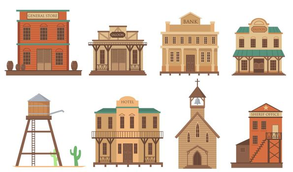 Variety of old houses for western town flat item set