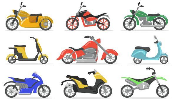 Various motorbikes flat item set