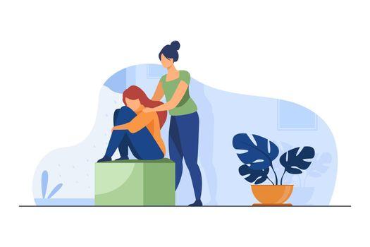 Woman comforting depressed friend