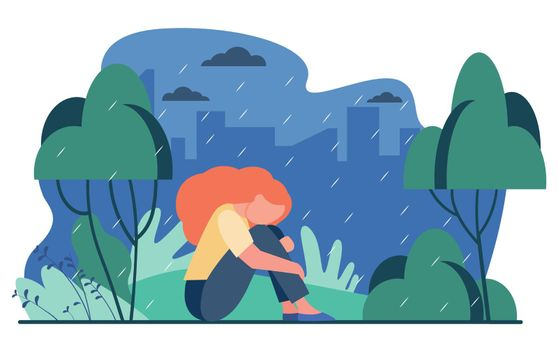 Unhappy girl in rain