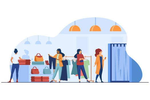 Women buying clothes in apparel store