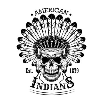 American Indian skull vector illustration