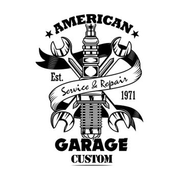 Car parts and spanners vector illustration