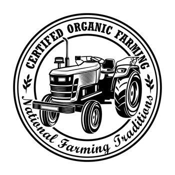 Certified organic farming stamp vector illustration