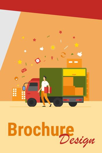Courier with truck delivering order