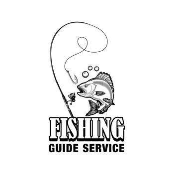 Fishing guide service label vector illustration