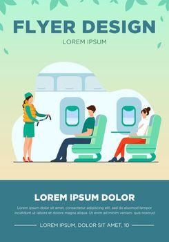 Flight attendant explaining safety instructions