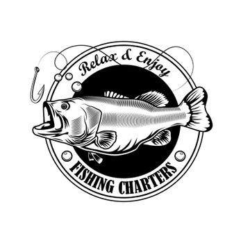 Fishing charter stamp vector illustration