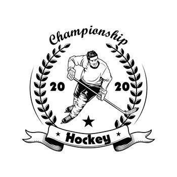Hockey championship label vector illustration