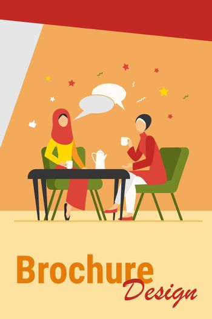 Muslim women meeting in Arabic coffee shop