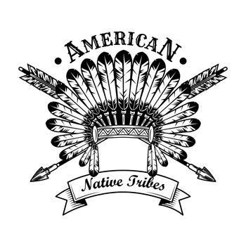 Native American tribe accessories vector illustration