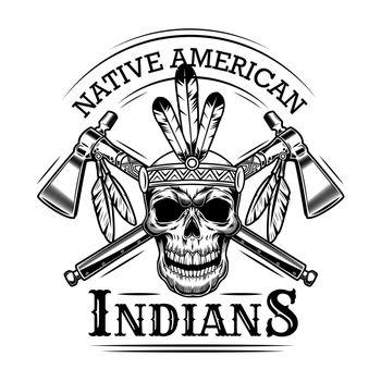 Native American skull vector illustration