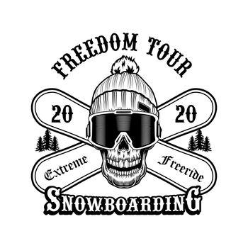 Skull of snowboarder in hat vector illustration