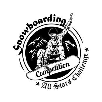 Snowboarding competition symbol vector illustration