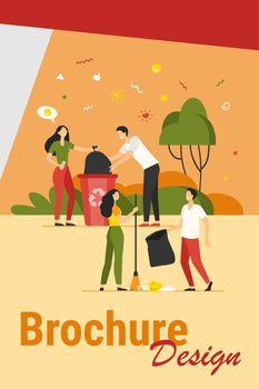 Team of volunteers cleaning park from garbage