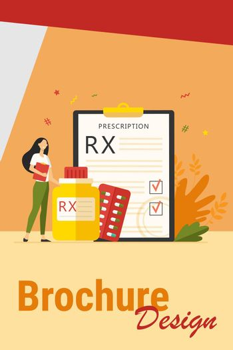 Tiny pharmacist standing near RX prescription